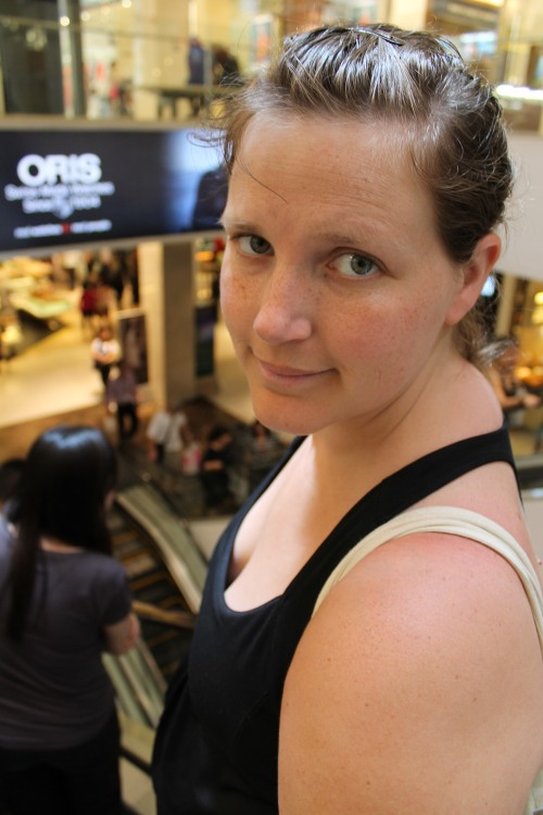 Hanna on Escalator in Search of Donuts.