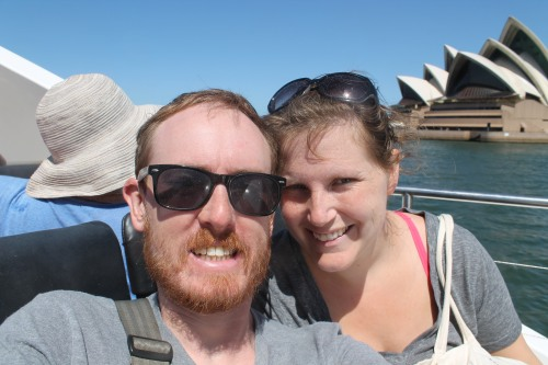 Mike's Massive Head Dwarfing Hanna and the Opera House. (He Tells Himself It's the Angle.)