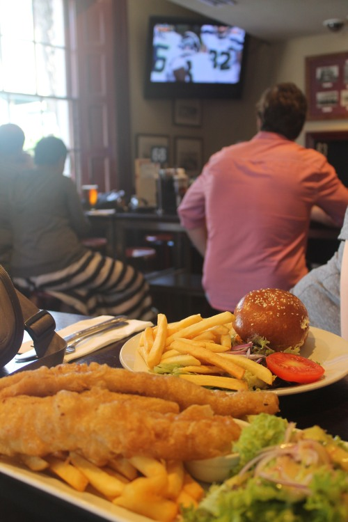 The Big Game, Hanna's Chicken Sandwich, and Mike's Huge Portion of Fish 'n' Chips.