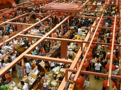 Packed Chinese New Year Market Inside a Department Store.