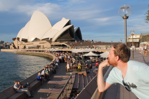 Mike Contemplating Life at the Opera House.