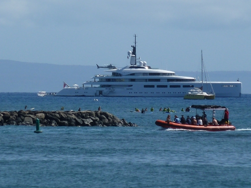 Yacht Owned by One of Britain's Richest Women. (No, Not J.K. Rowling.) Yes, That is a Helicopter on Top.